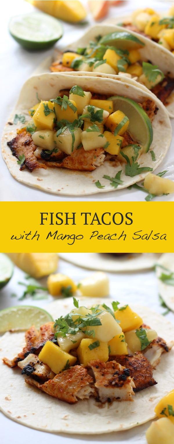 Fish Tacos with Mango Peach Salsa