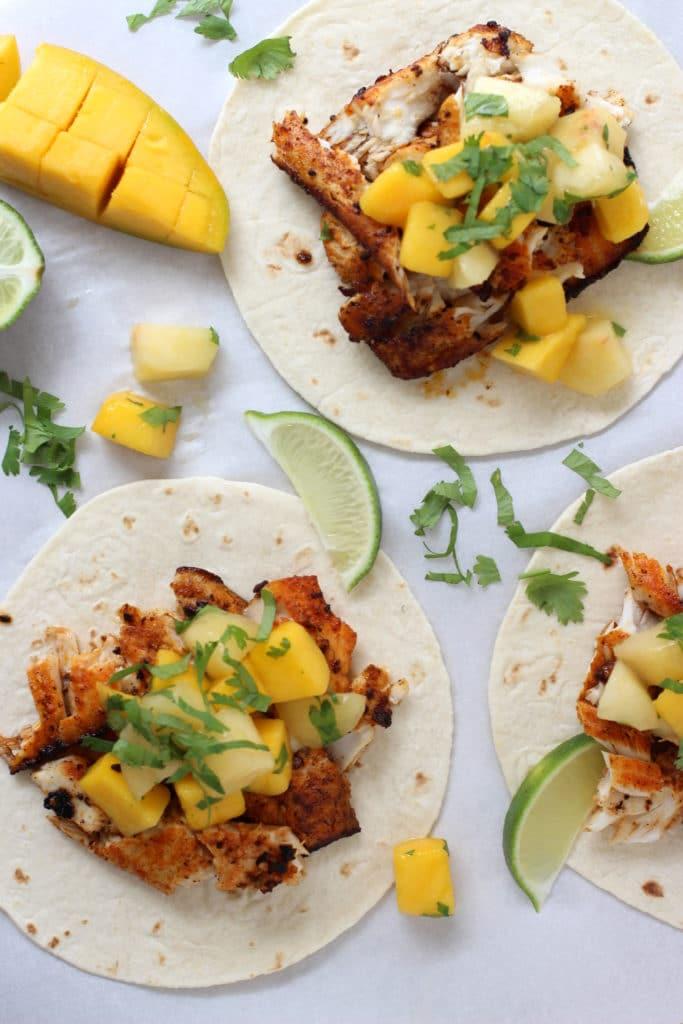 Fish Tacos with Mango Peach Salsa
