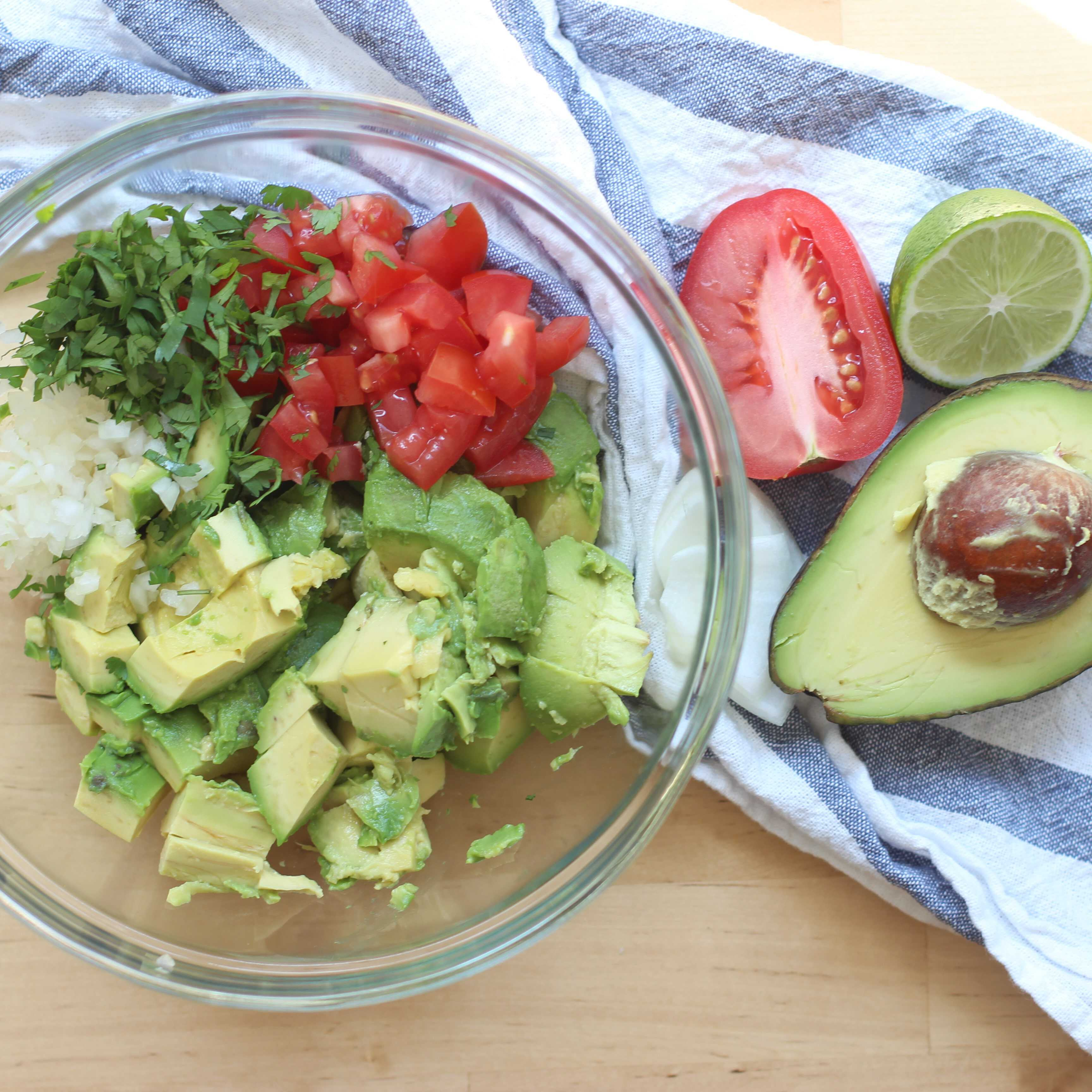Ingredients for Homemade Chunky Guacamole