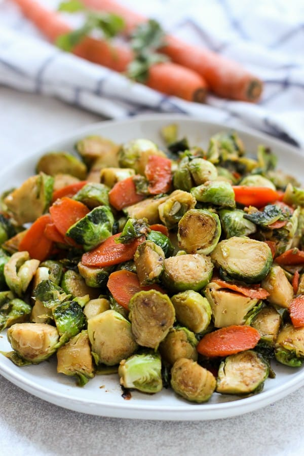 Sautéed Garlic Brussel Sprouts and Carrots