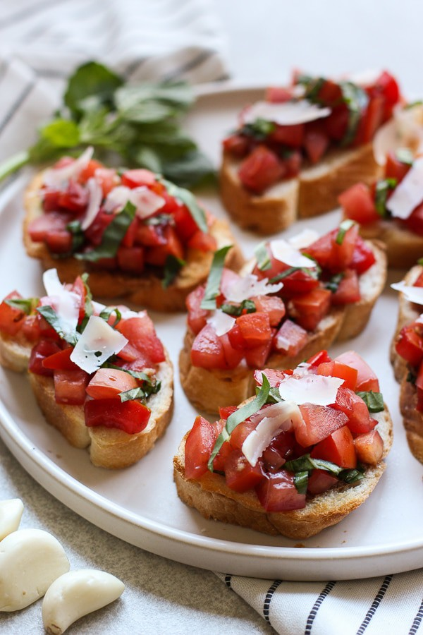 Bruschetta with Tomatoes on a plate