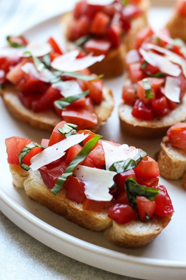 Closeup of Bruschetta with Tomatoes, Basil and Balsamic Vinegar