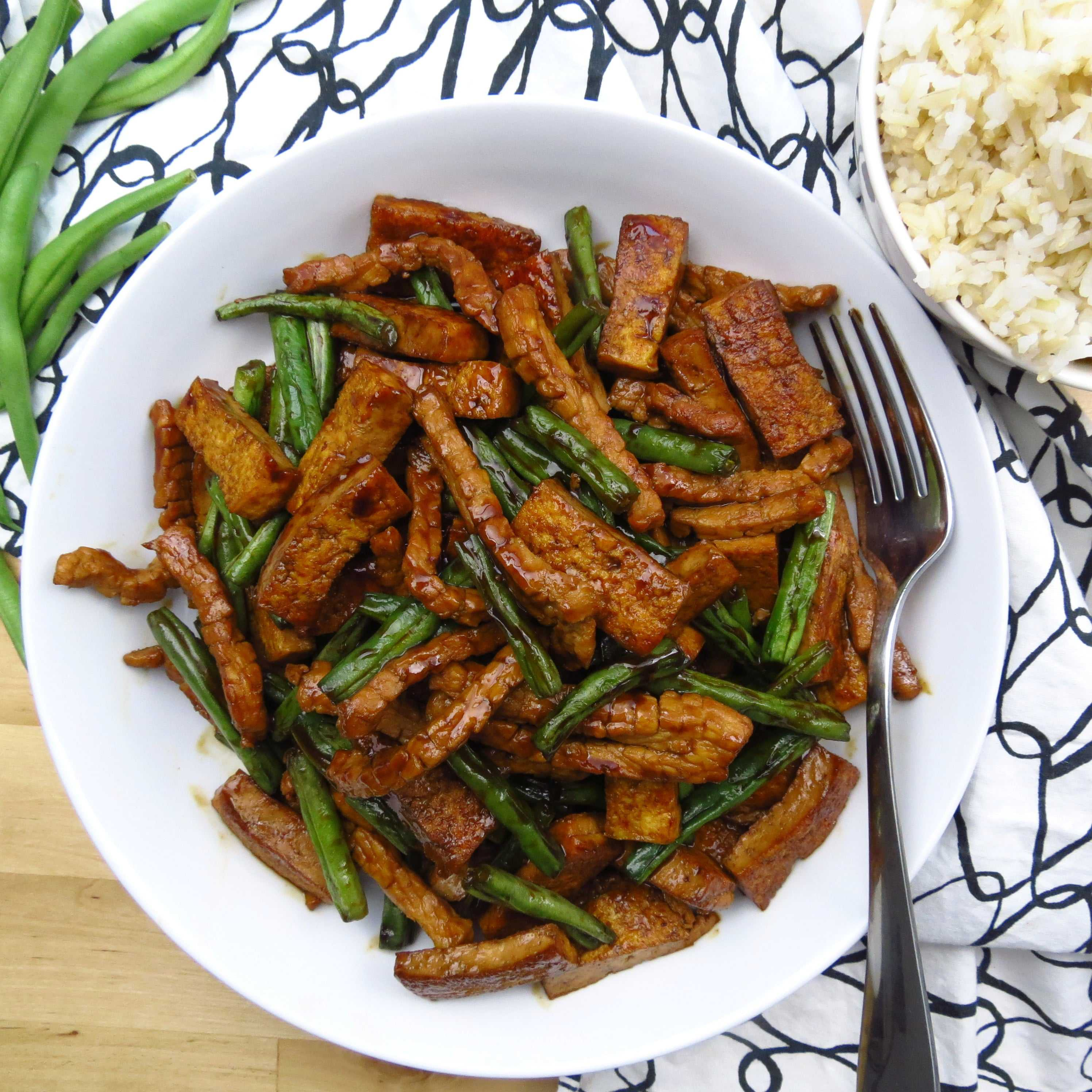 Honey Soy Tofu, Green Beans and Pork Stir Fry with Rice