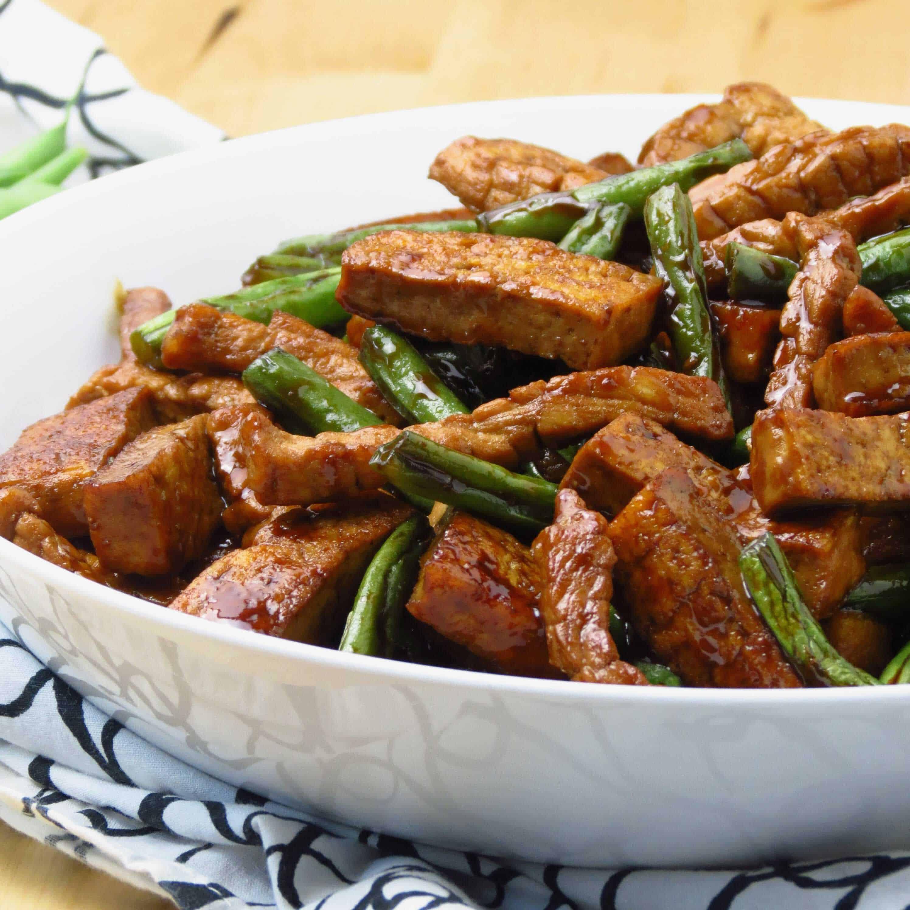 Honey Soy Tofu, Green Beans and Pork Stir Fry