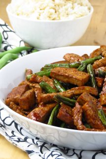 Honey Soy Tofu, Green Beans and Pork Stir Fry