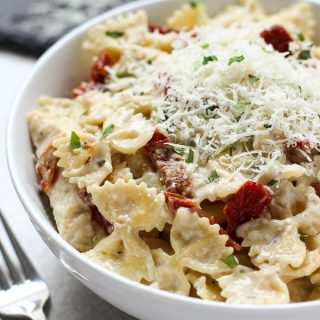 A bowl of Creamy Sun-dried Tomato Pasta with Chicken