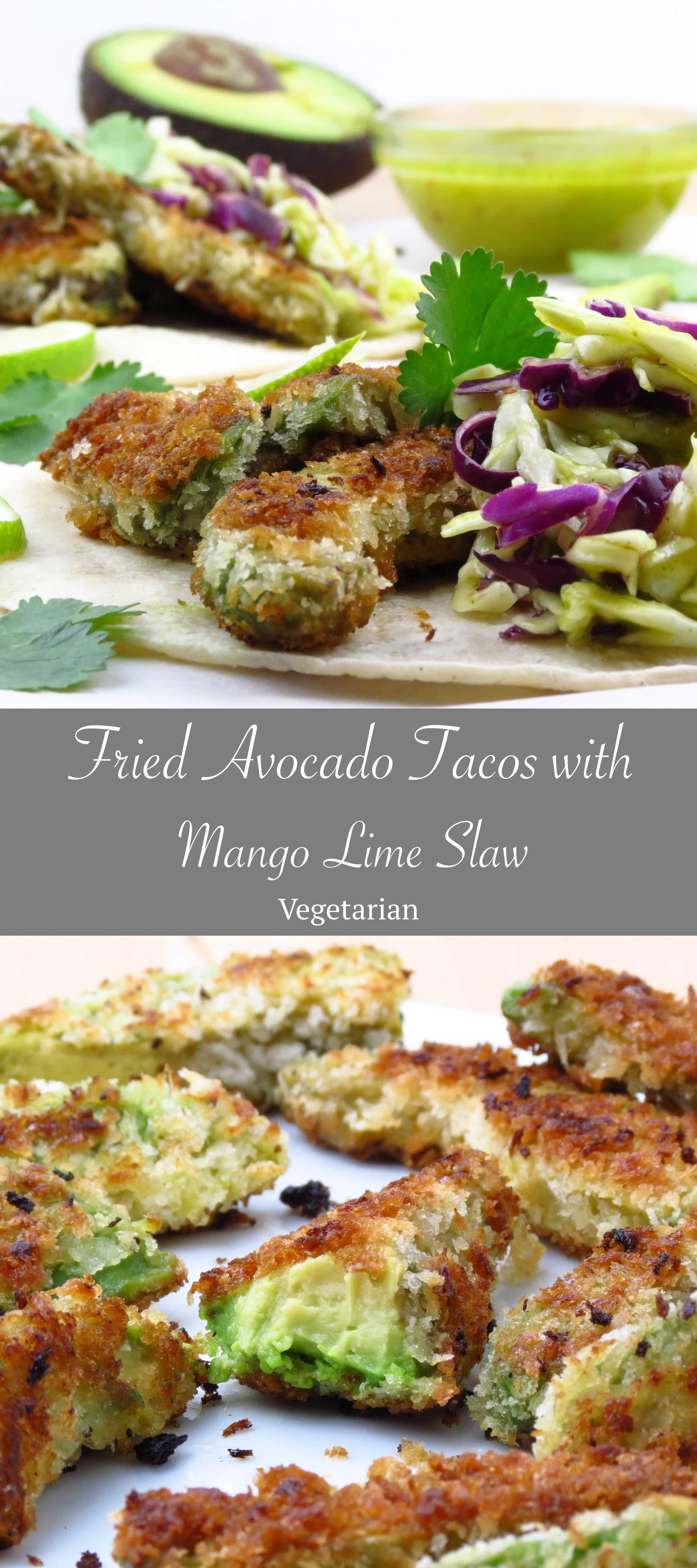Fried Avocado Tacos with Mango Lime Slaw