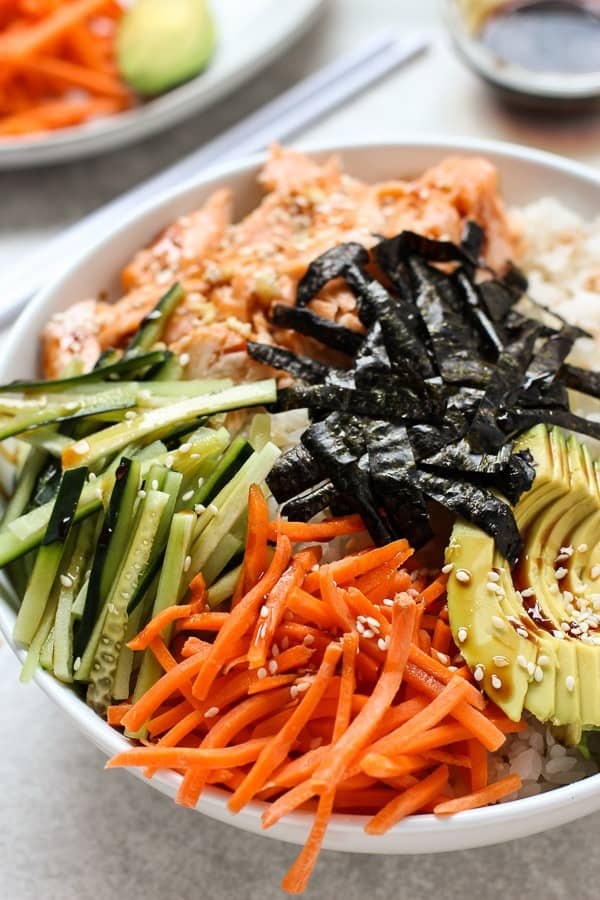 A bowl of Baked Salmon Sushi Bowl