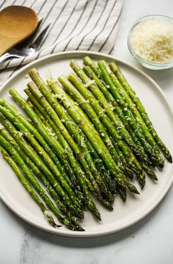 Top down view of Easy Garlic Parmesan Asparagus