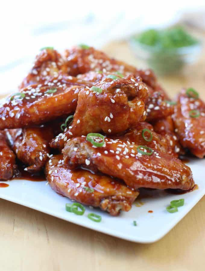 Spicy Baked Korean Chicken Wings on a plate