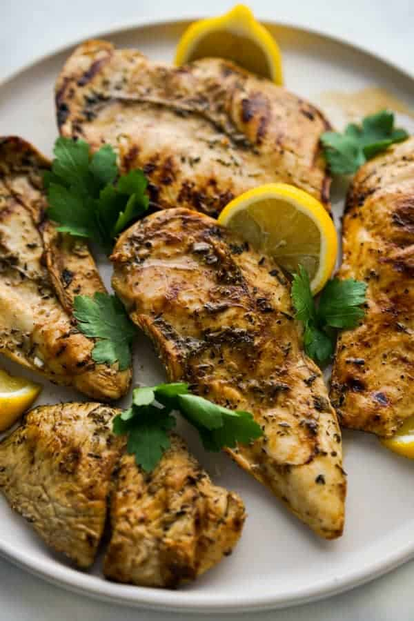 A plate of Lemon Balsamic Grilled (Or Pan Fried) Chicken