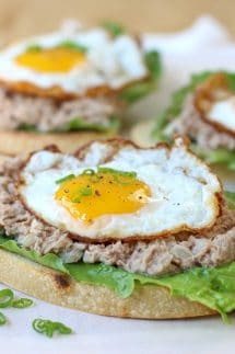 Open Face Tuna and Egg Sandwich