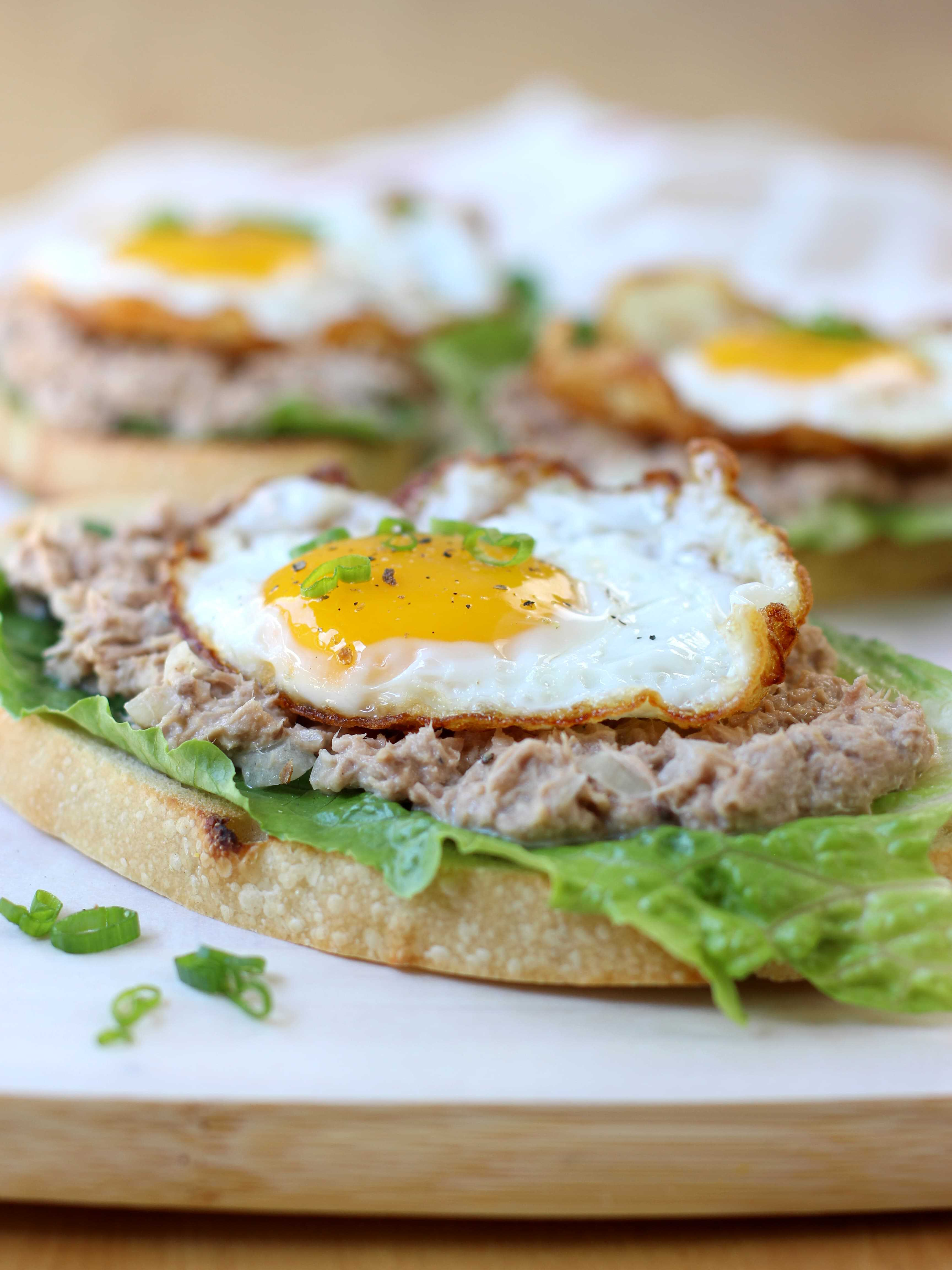 Open Face Tuna and Egg Sandwich