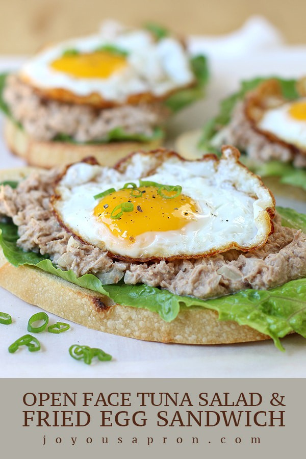 Open Face Tuna Salad and Fried Egg Sandwich