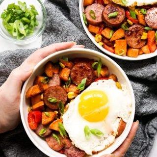 Sweet Potato and Kielbasa Hash