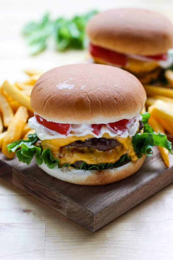 Homemade burger with fries