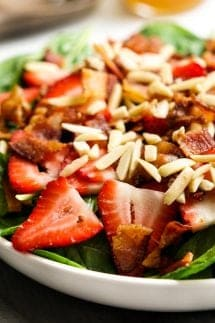 A bowl of Spinach Strawberry Bacon Salad