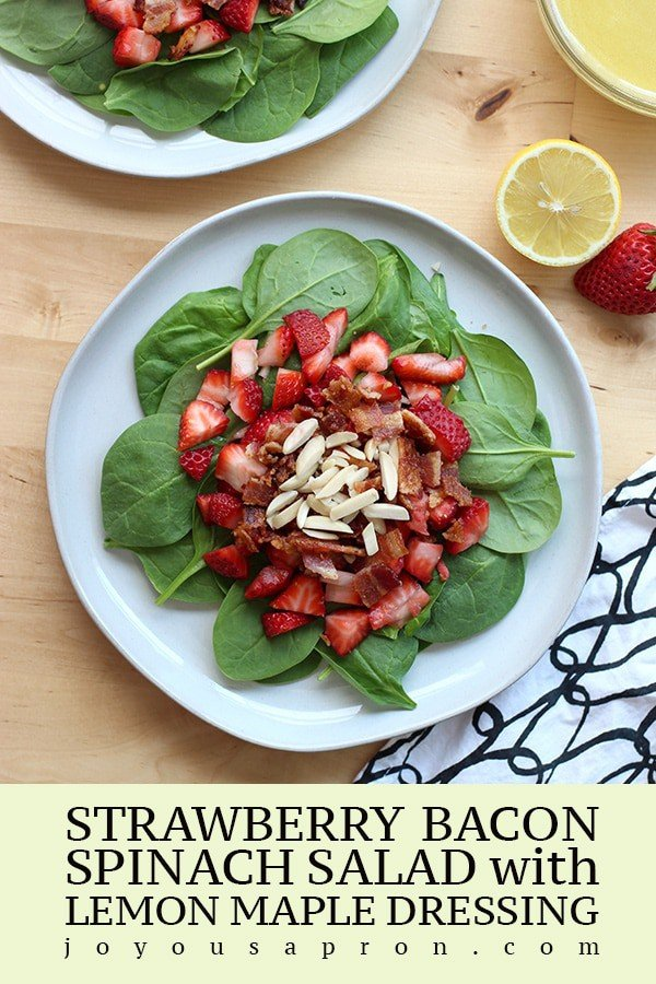 Strawberry Bacon Spinach Salad with Lemon Maple Dressing