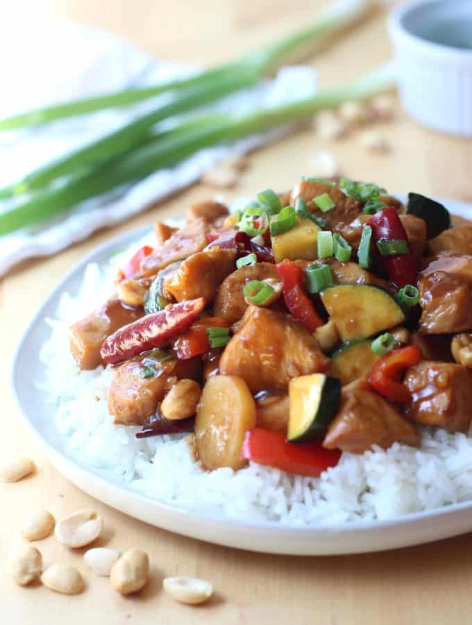 A plate of chicken in kung pao sauce