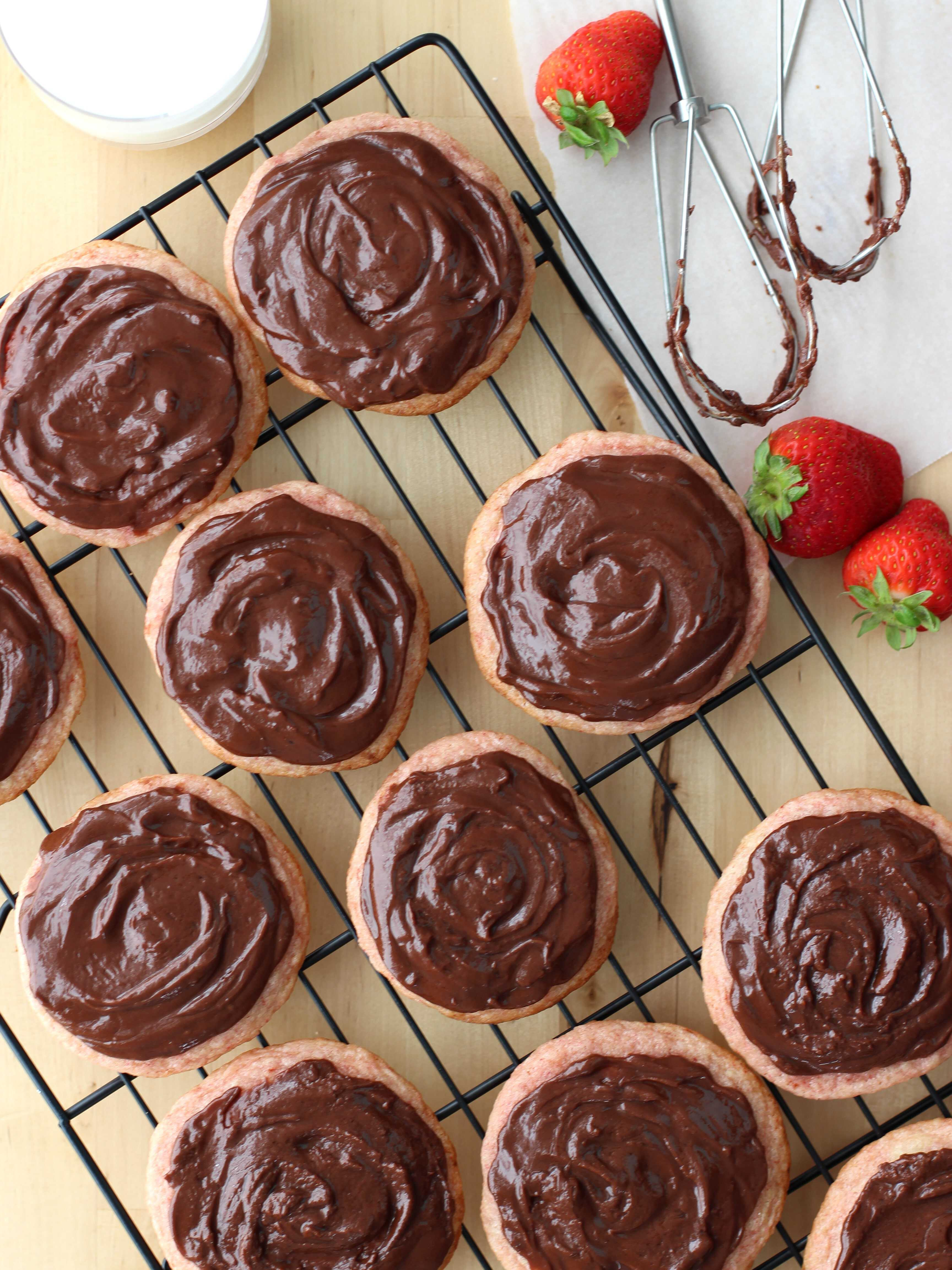 Strawberry Sugar Cookies with Nutella Icing