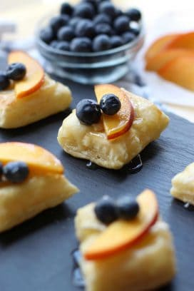 Nectarine and Blueberry Brie Bites