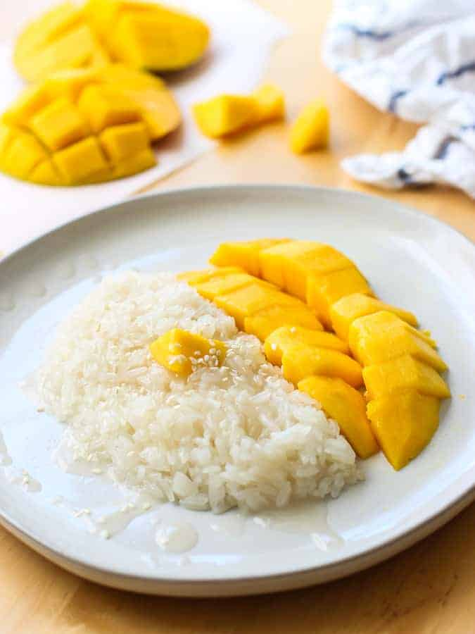 A plate of Thai Mango Sweet Sticky Rice