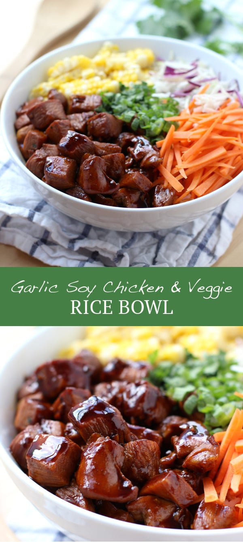 Garlic Soy Chicken and Veggie Rice Bowl