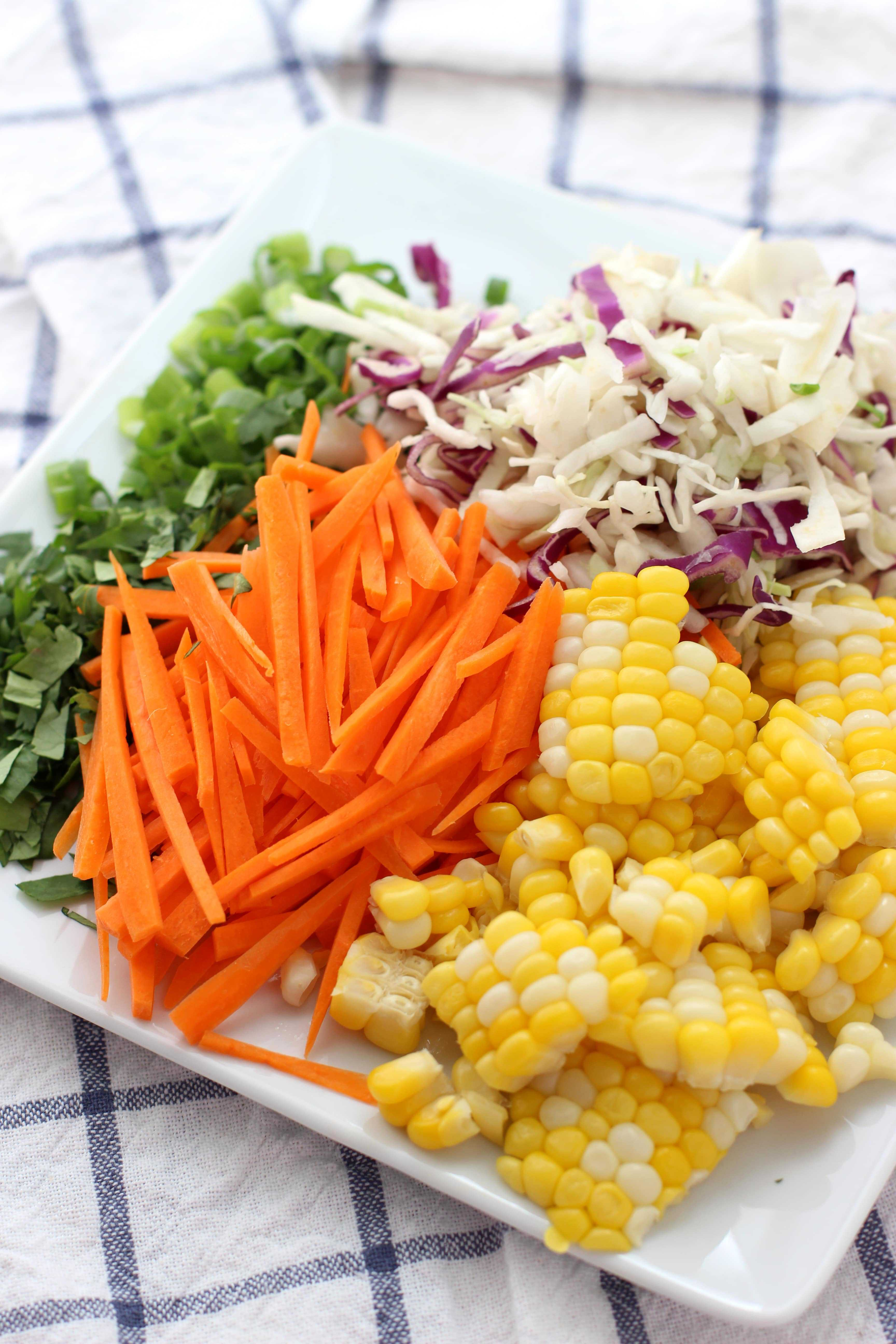 Fresh corn, carrots, cabbage, scallions and cilantro