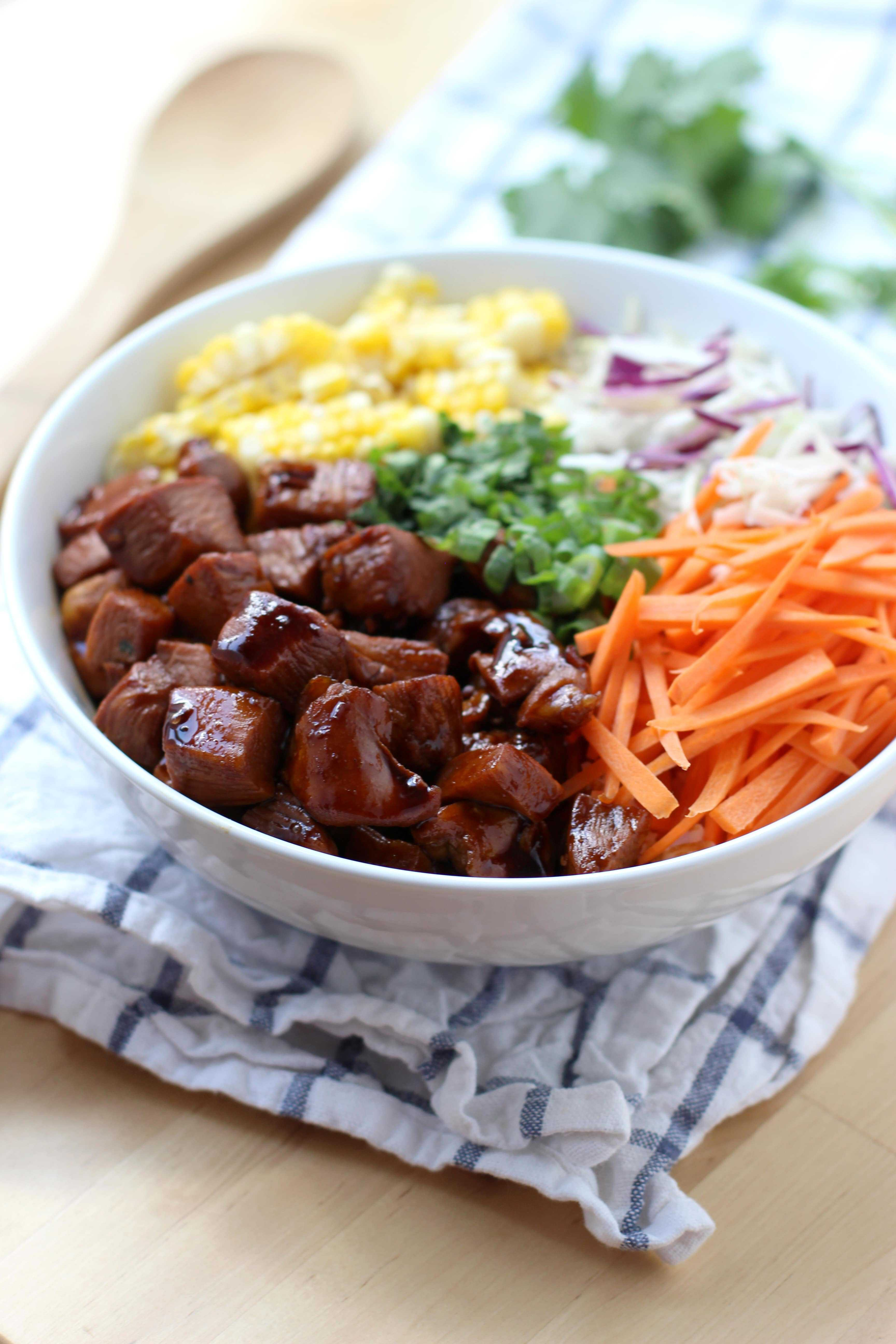 Garlic Soy Chicken and Veggie Rice Bowl