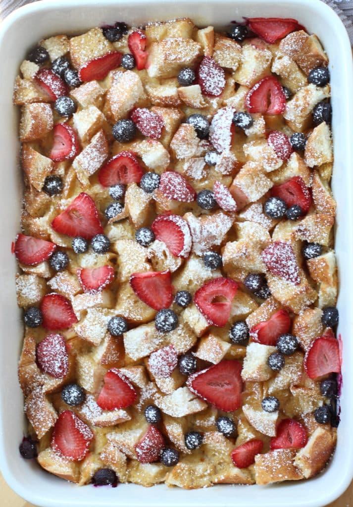 A top down pic of a casserole of Berry French Toast Casserole