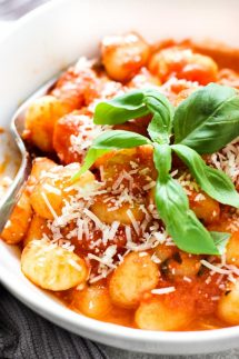 A bowl of Tomato Basil Gnocchi
