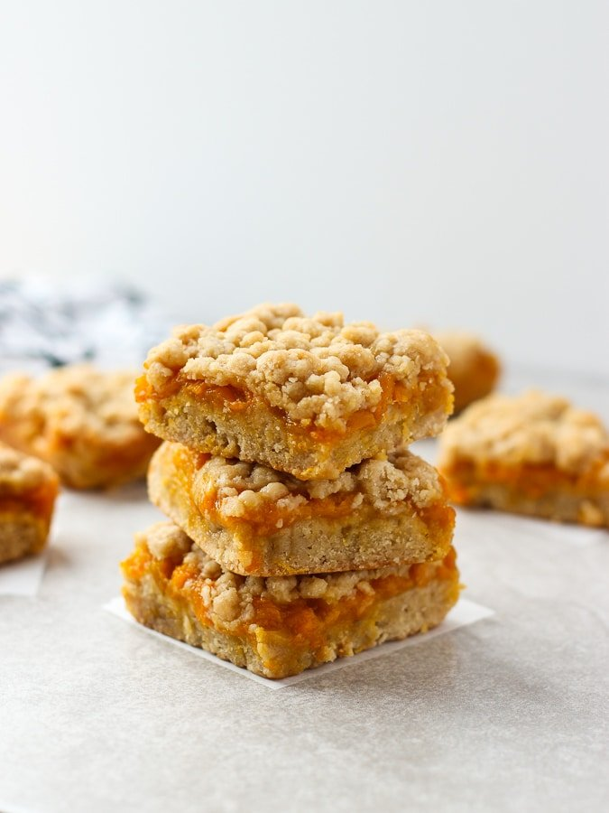 A stack of three Mango Crumb Bars