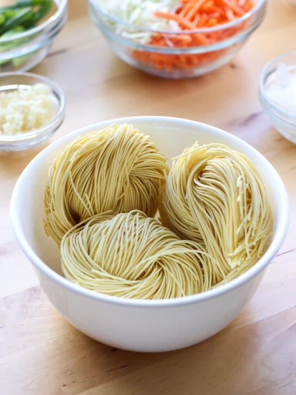 Dried Egg Noddles for Shrimp Stir Fried Noodles recipe