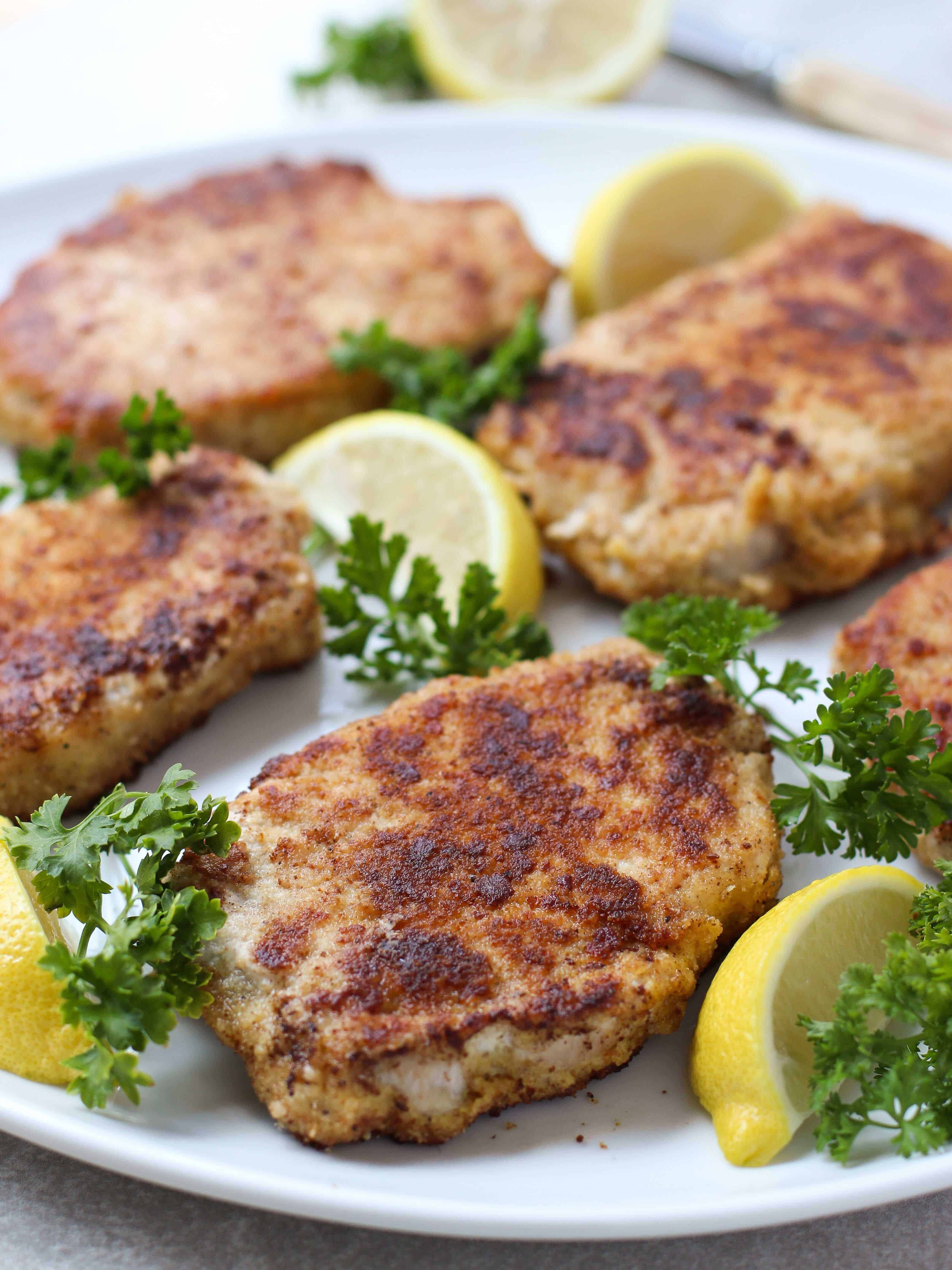 Lemon Butter Parmesan Crusted Pork Chops