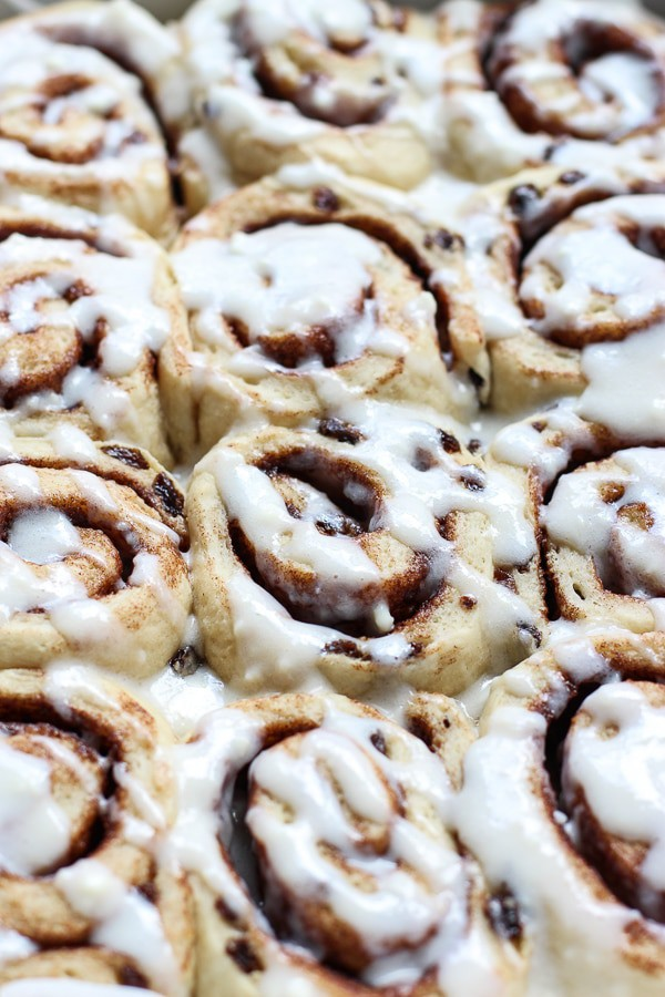 Cinnamon Raisin Rolls topped with sweet icing
