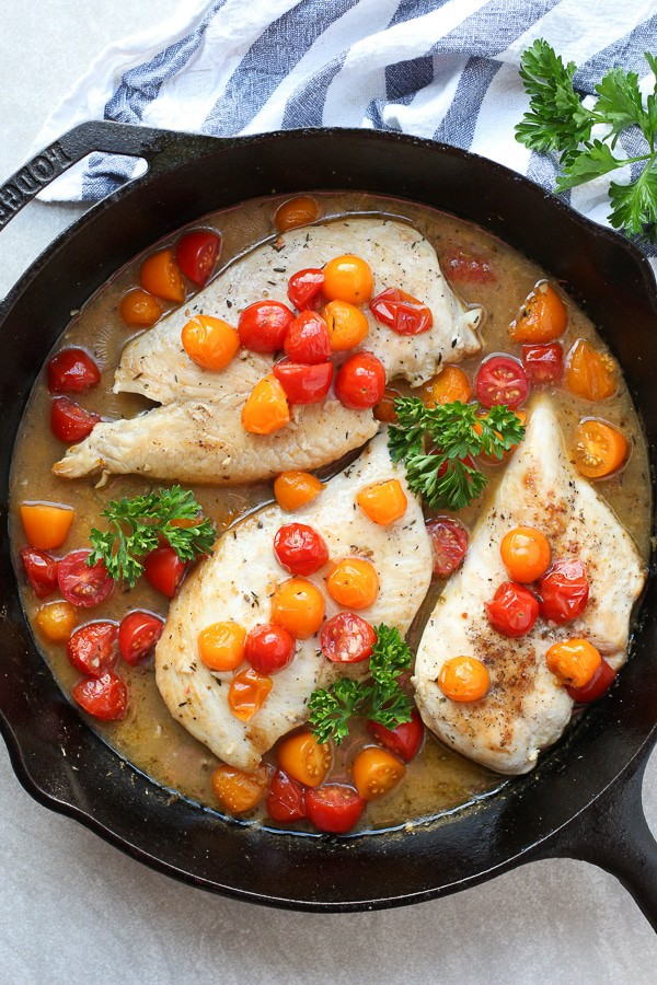 White Wine and Tomato Skillet Chicken
