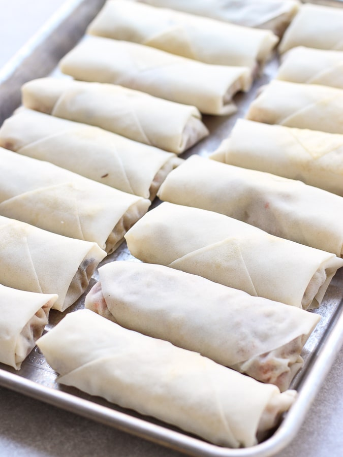 Uncooked wrapped Vietnamese Egg Rolls