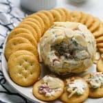 Bacon Ranch Cheeseball with crackers