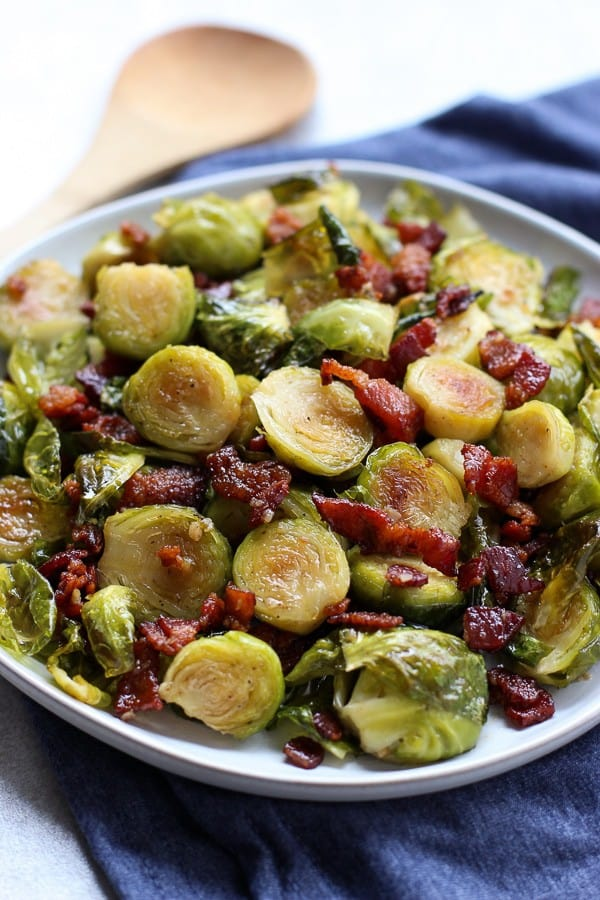 Close up of a plate of Honey Roasted Brussel Sprouts and Bacon