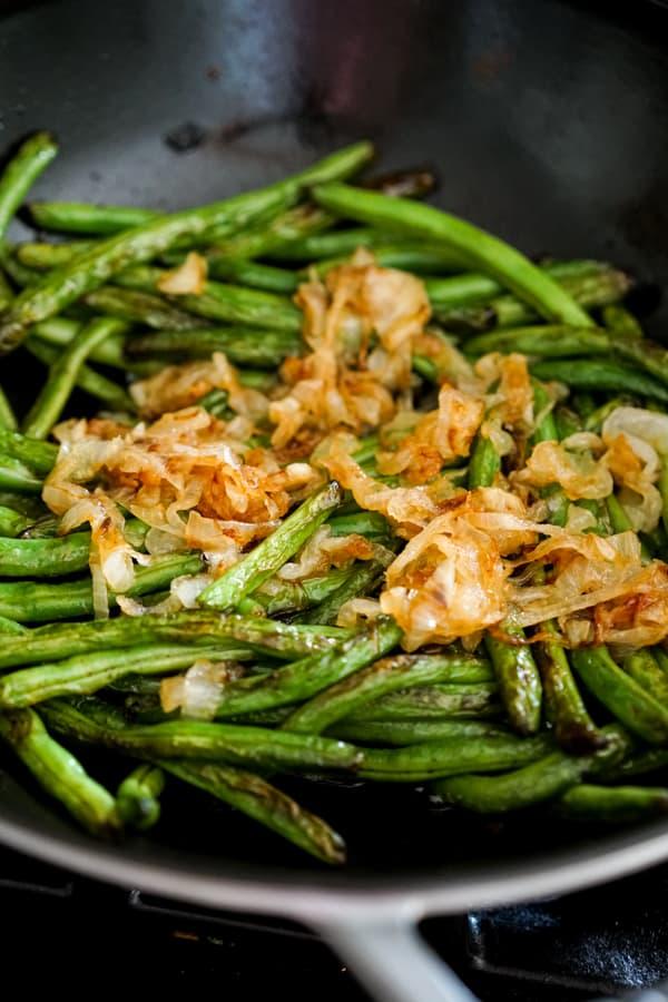 Sautéing Caramelized Onions Sautéed Green Beans in non-stick skillet