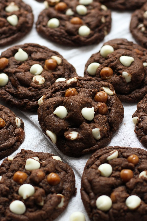 Caramel White Chocolate Chip Chocolate Cookies on kitchen towel