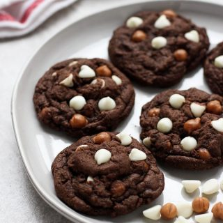 A plate of Caramel White Chocolate Chip Chocolate Cookies