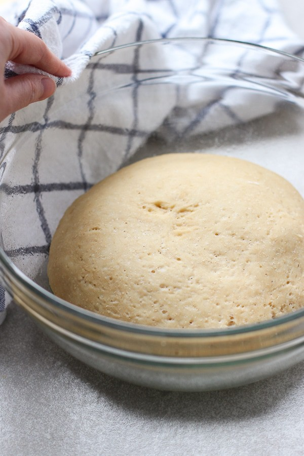 Dough for Everything Bagel Pigs in the Blanket after rising for 3-4 hours