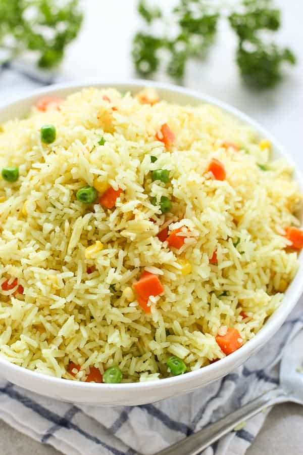 A bowl of Easy Mixed Vegetable Rice
