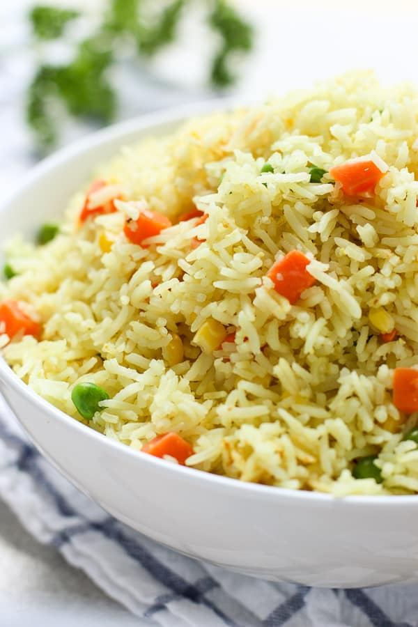 Close up shot of Easy Mixed Vegetable Rice