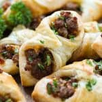 Upclose shot of Sausage and Cheese Puff Pastry Pockets
