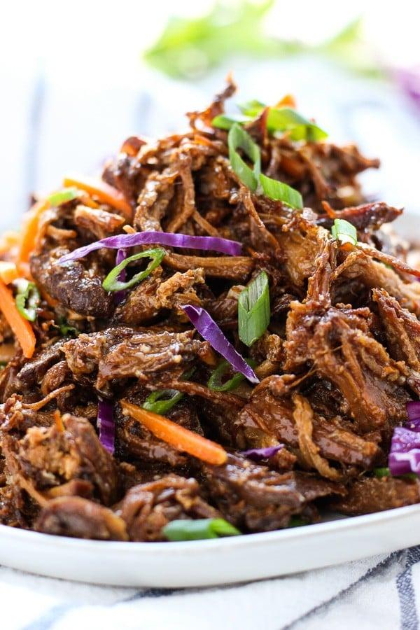 Upclose shot of Slow Cooker Asian Shredded Pork