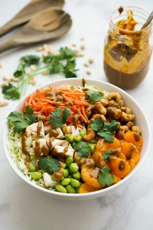 Asian Peanut Chicken Salad ingredients in a large bowl