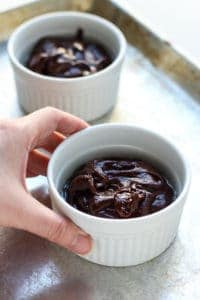 Uncooked Molten Chocolate Lava Cakes in ramekins