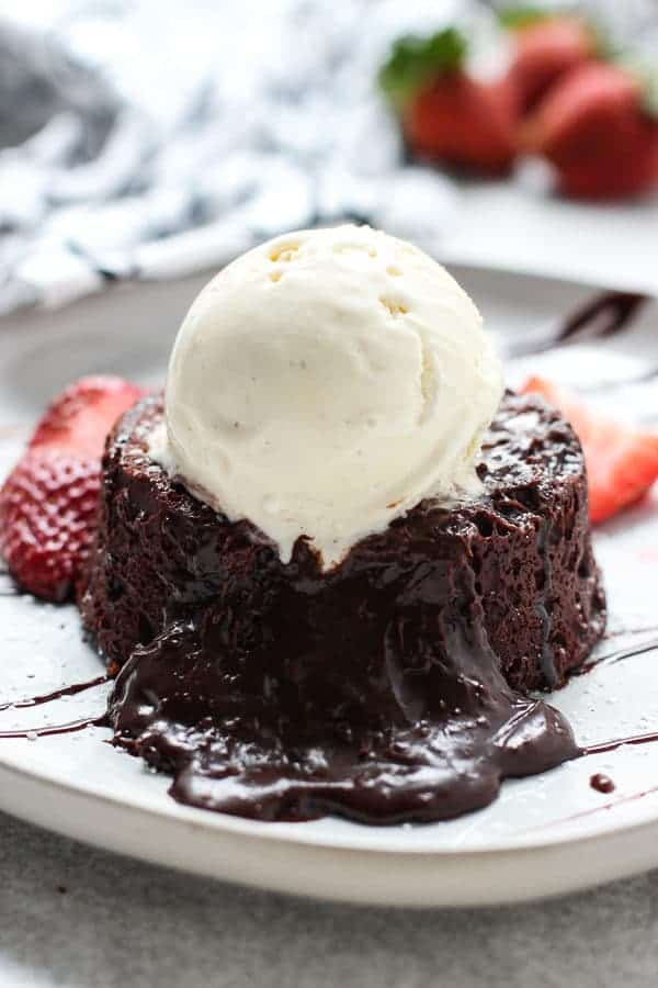 Molten Chocolate Lava Cake with the gooey center pouring out